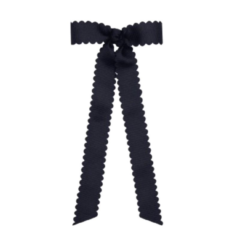 Wee Ones Bows Wee Ones Mini Scalloped Edge Bow W Streamer Tails Navy