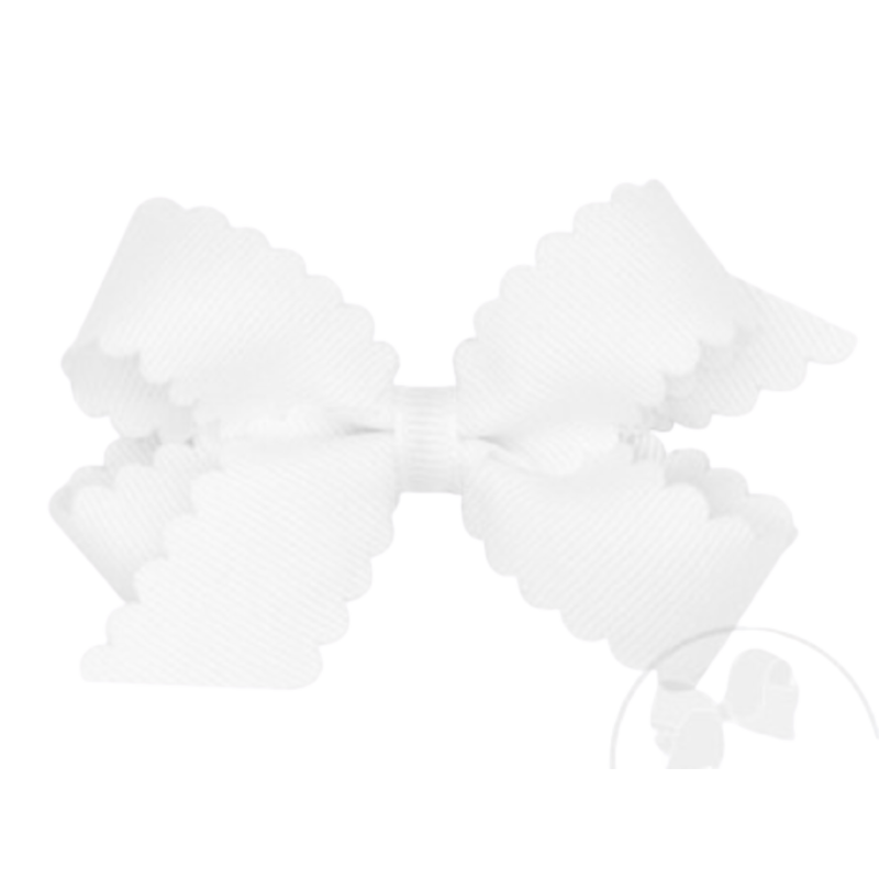 Wee Ones Bows Wee Ones Mini White Scallop Edge Bow