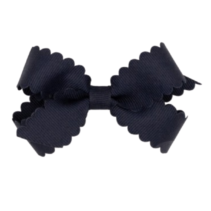 Wee Ones Bows Wee Ones Mini Navy Scallop Edge Bow