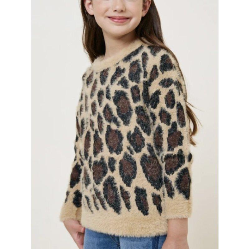 Hayden LA Hayden LA Tan Leopard Fuzzy Sweater