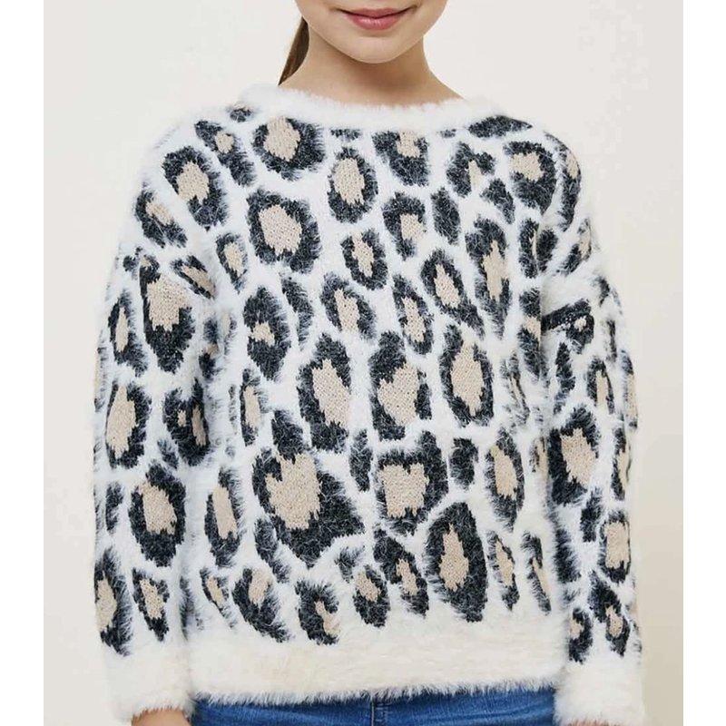Hayden LA Hayden Girl Ivory Leopard Fuzzy Sweater