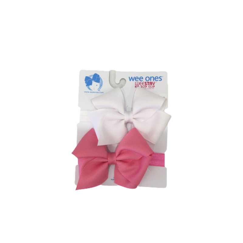 Wee Ones Bows Wee Ones 2 Pack XS Bows On Band White/ Hot Pink