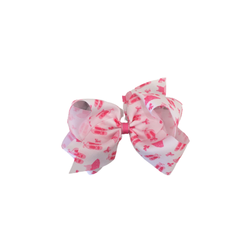 Wee Ones Bows Wee Ones Ballet Print GG Bow Hot Pink w Silver King