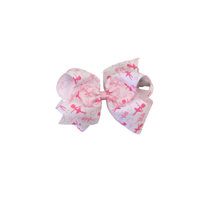 Wee Ones Bows Wee Ones Ballet Print GG Bow Light Pink w Silver King