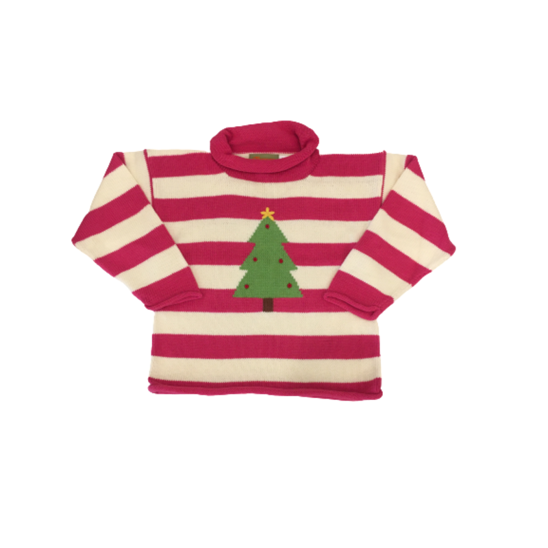 Luigi Luigi Hot Pink/Ivory Stripe Christmas Tree Sweater