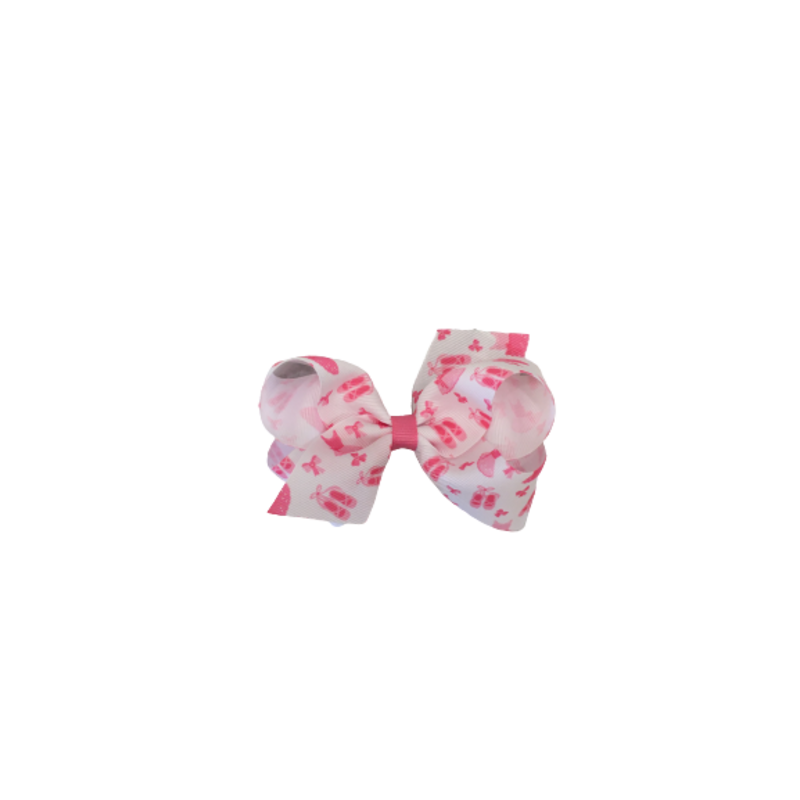 Wee Ones Bows Wee Ones Ballet Print GG Bow Hot Pink Medium