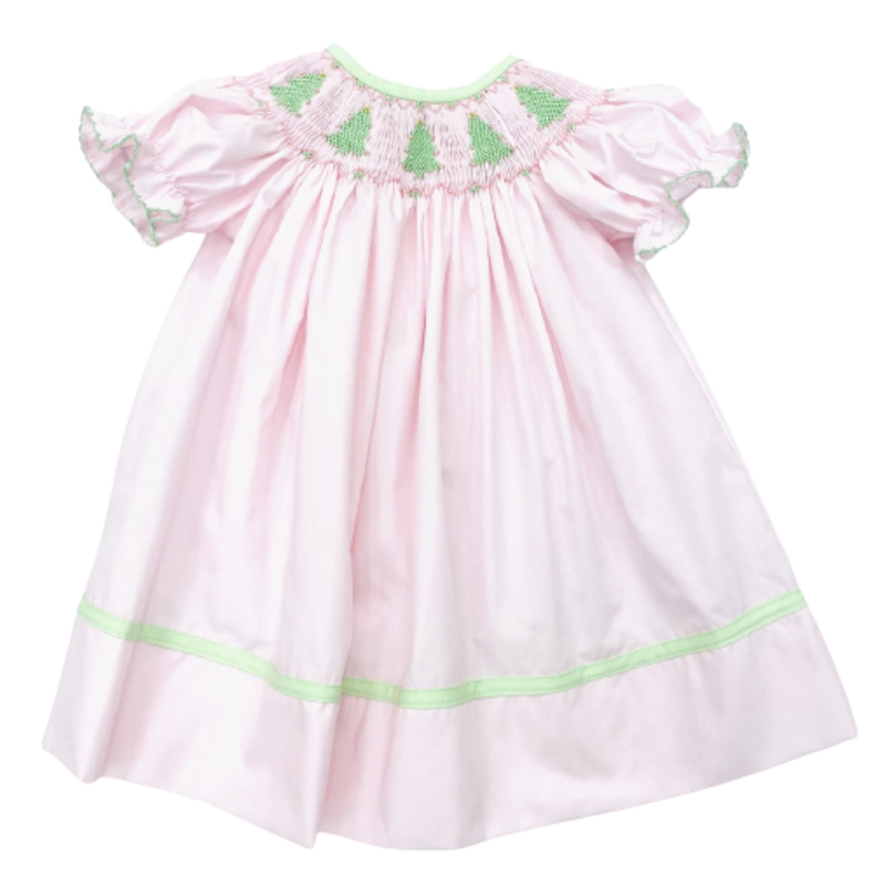 Lulu BebeTree Smocked Bishop Dress Pink/Green