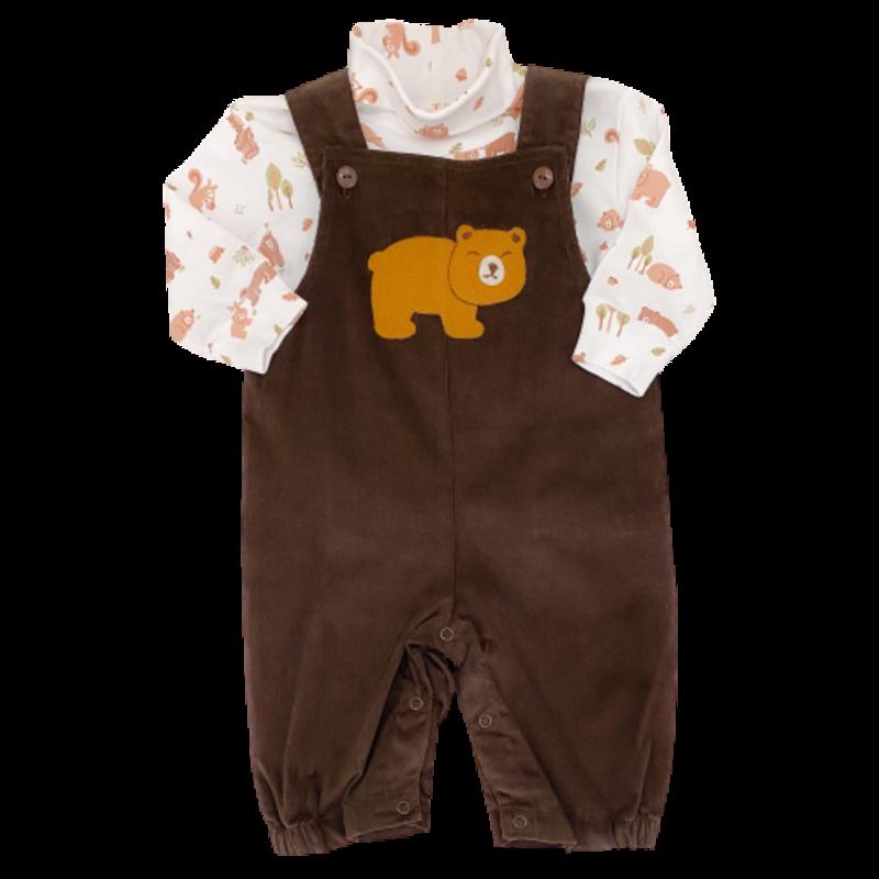 Luigi Luigi Corduroy Romper Bear Cub Chocolate