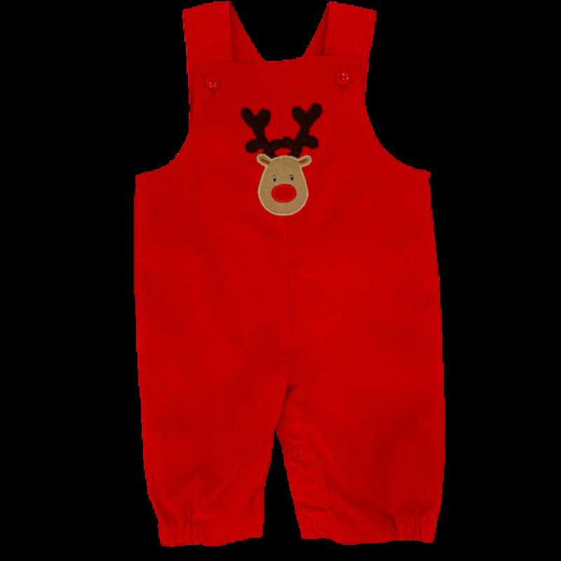 Luigi Luigi Corduroy Romper Rudolph Head Red