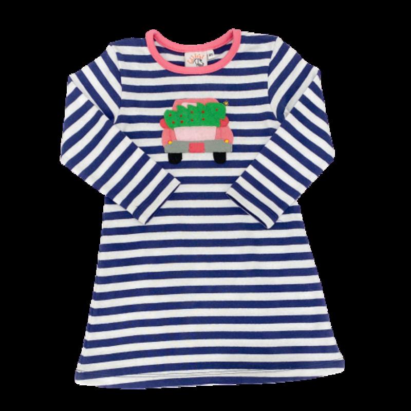 Luigi Luigi Stripe Navy/Pink LS Truck w Tree Dress