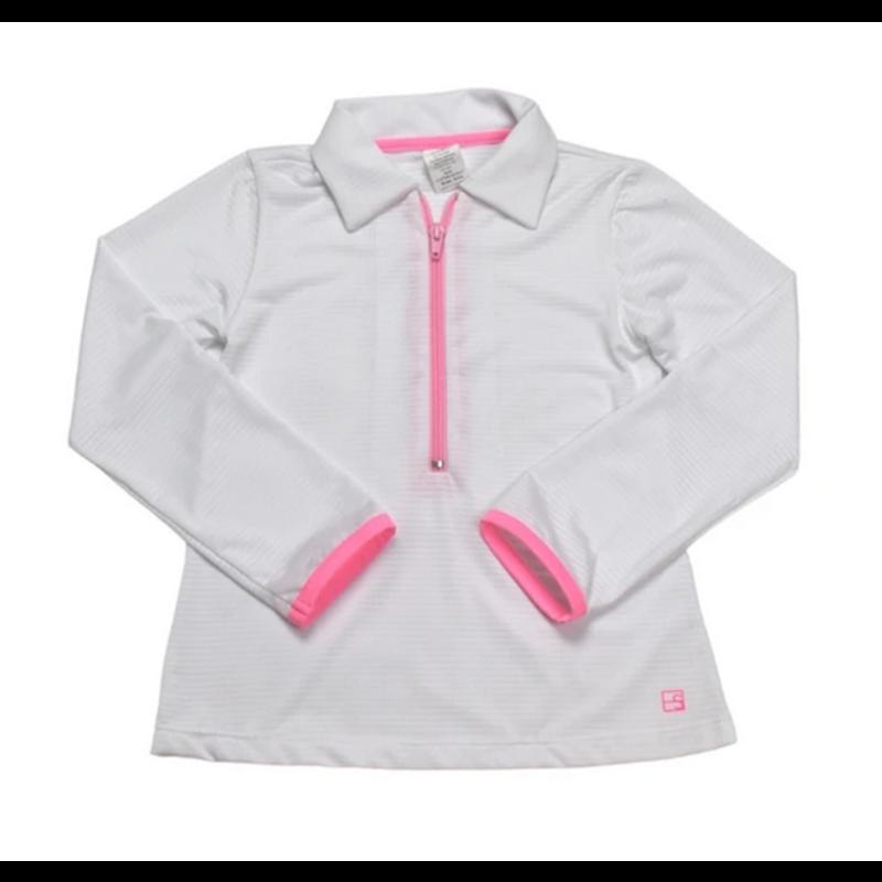 SET Athleisure SET Athleisure Heather Half Zip White w Pink