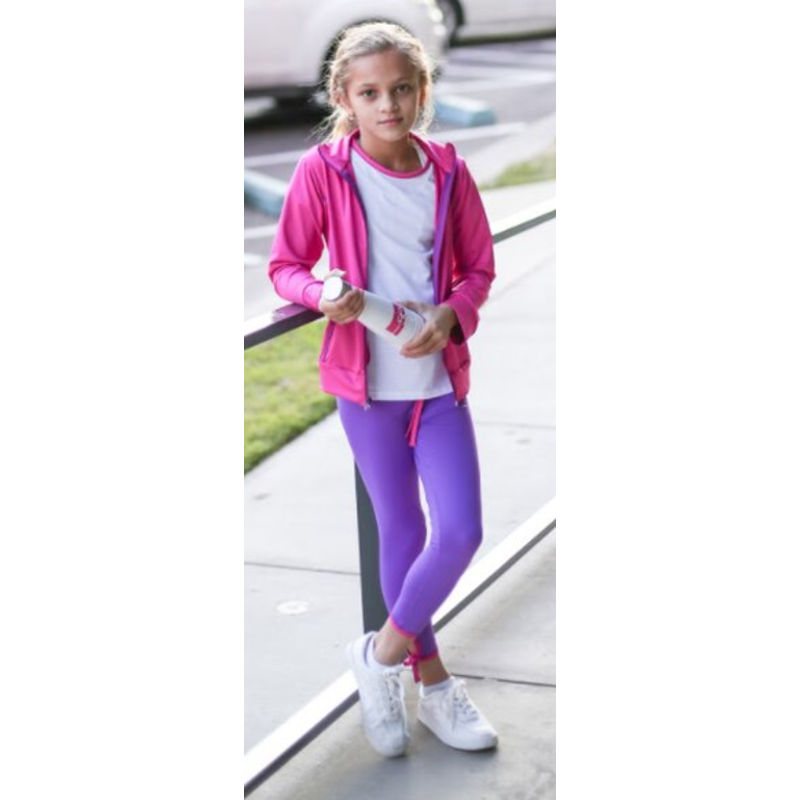 SET Athleisure SET Athleisure Avery Legging- Purple w Fuchsia Tie