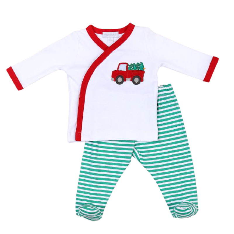 Magnolia Baby Magnolia Baby Perfect Tree Applique X-Tee Footed Pant Set
