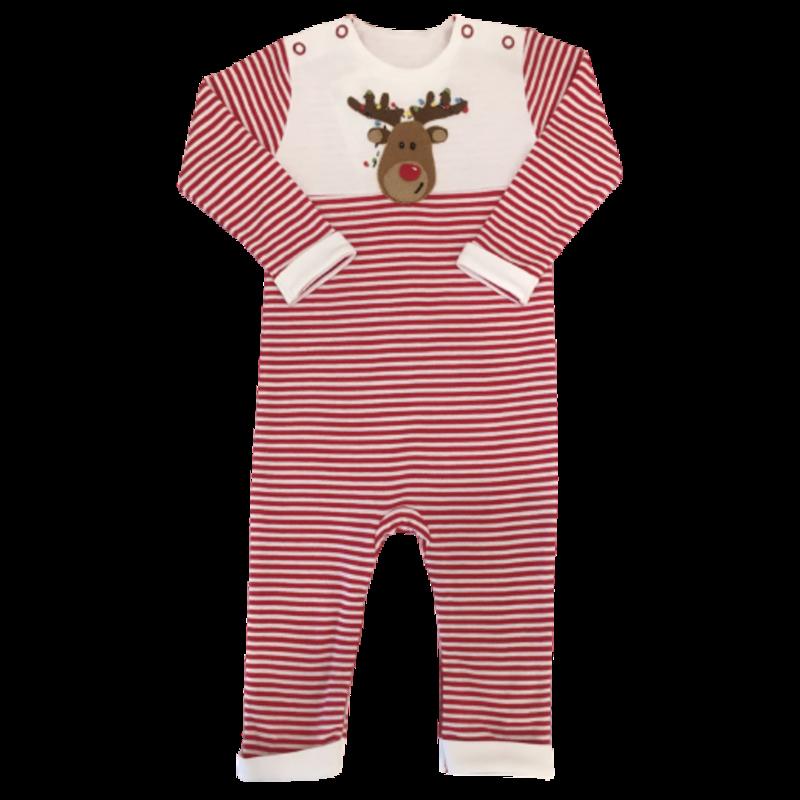 Squiggles Squiggles Reindeer Stripe Romper