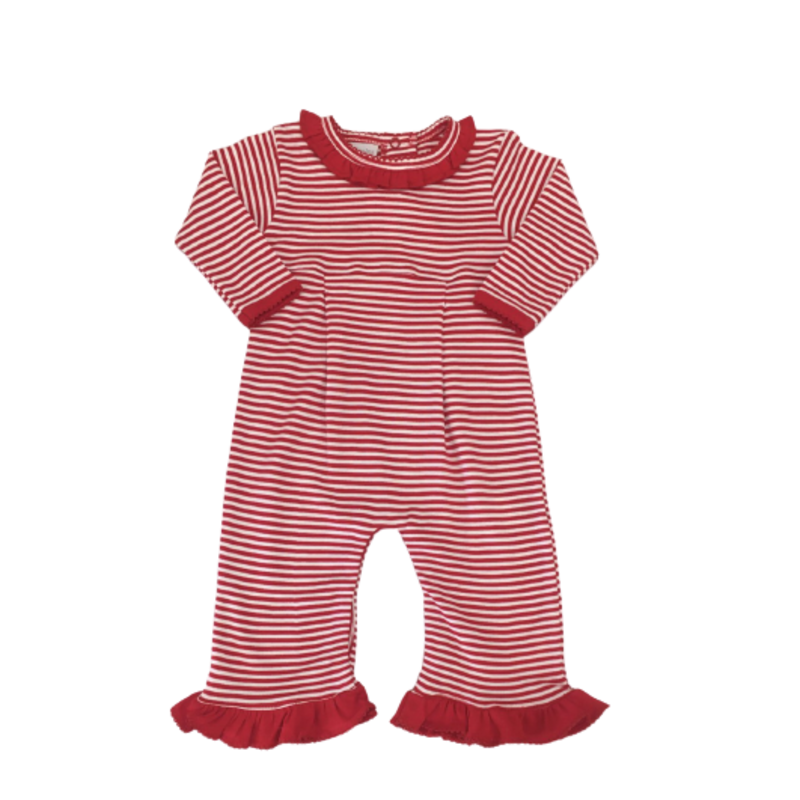 Squiggles Squiggles Red Stripe Ruffle Romper