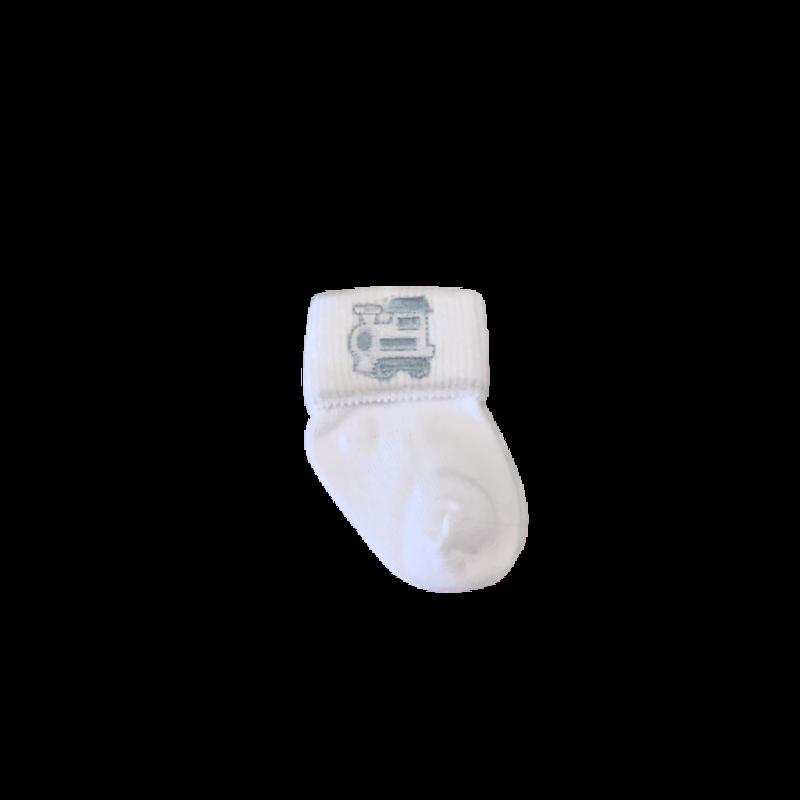 Jefferies Baby Boy Train Applique Turn Cuff Socks