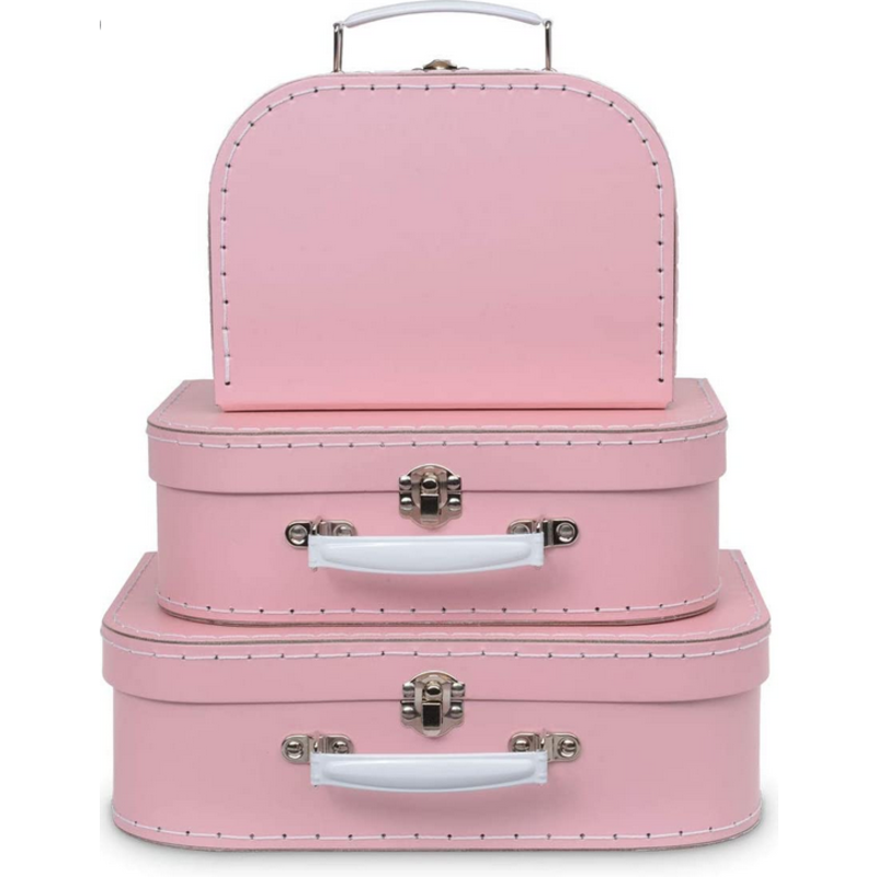 Jewelkeeper Jewelkeeper Paperboard Suitcases Set of 3 Pink
