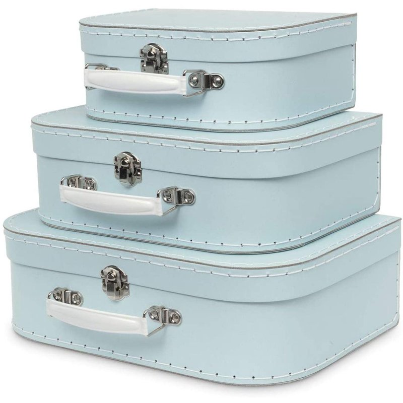 Jewelkeeper Jewelkeeper Paperboard Suitcases Set of 3 Blue