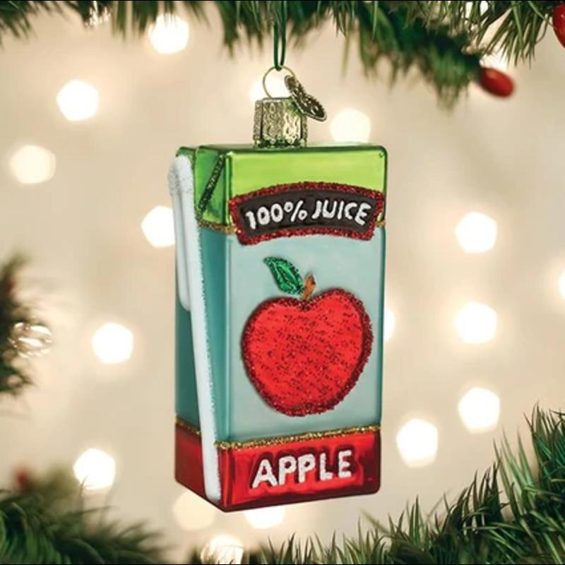 Old World Christmas Apple Juice Box Ornament