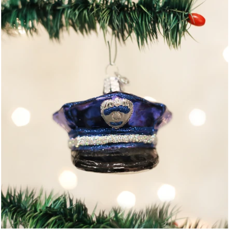 Old World Christmas Police Officer's Cap Ornament