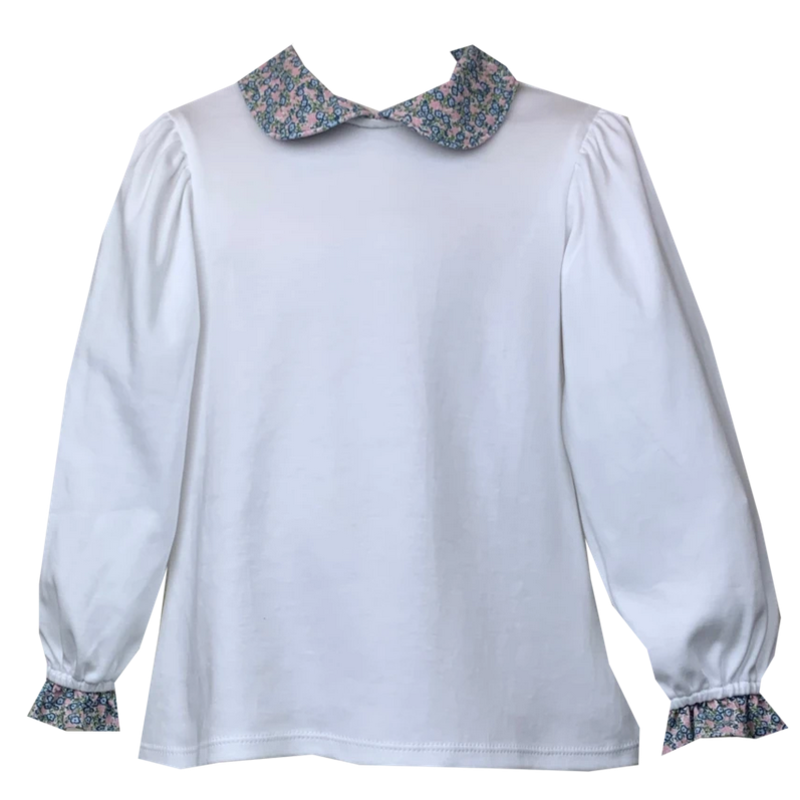 Lullaby Set Lullaby Set White Pima Knit Top W Blue Floral Collar