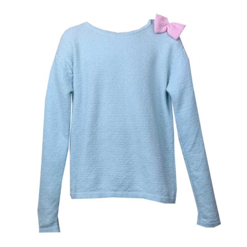 Lullaby Set Lullaby Set All Weather Sweater - Light Blue W Pink Bow