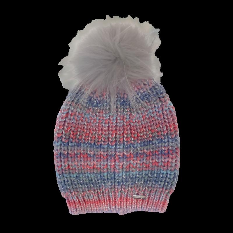 Bari Lynn Bari Lynn Pink/Blue Chunky Knit Winter Hat