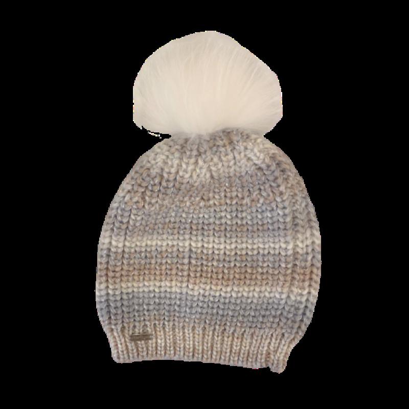Bari Lynn Bari Lynn White/Silver Chunky Knit Winter Hat
