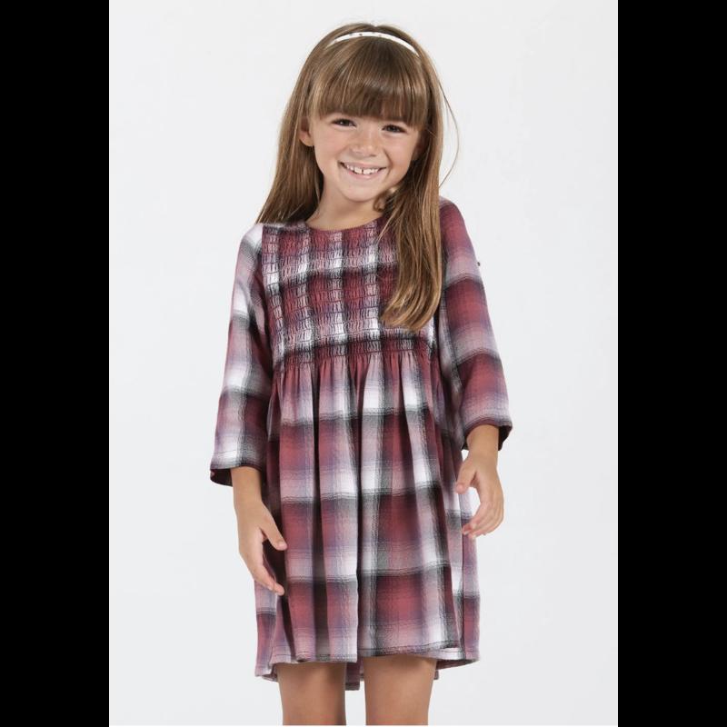 Bella Dahl Girl Bella Dahl  Smocked LS Dress - Ombre Berry