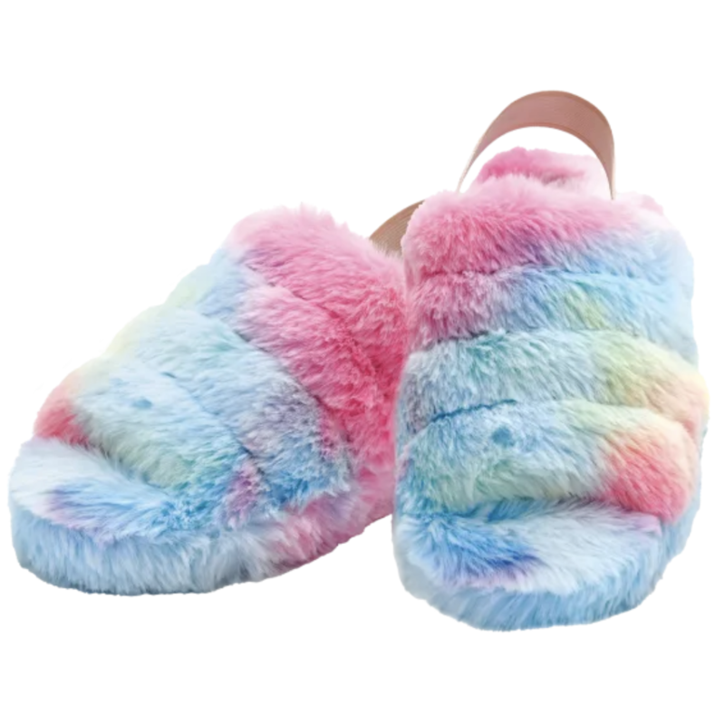 Iscream Iscream Rainbow Furry Slippers- M/L (6-9)