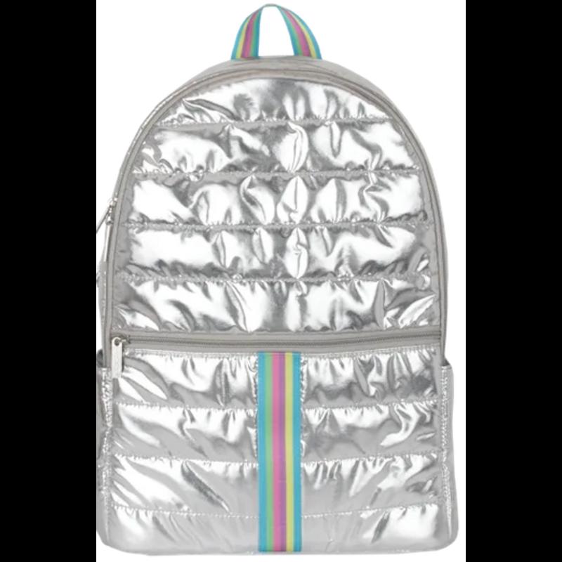 Iscream Iscream Silver Metallic Rainbow Puffer Backpack