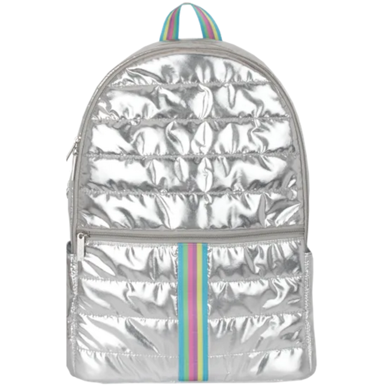 Iscream Silver Metallic Rainbow Puffer Backpack