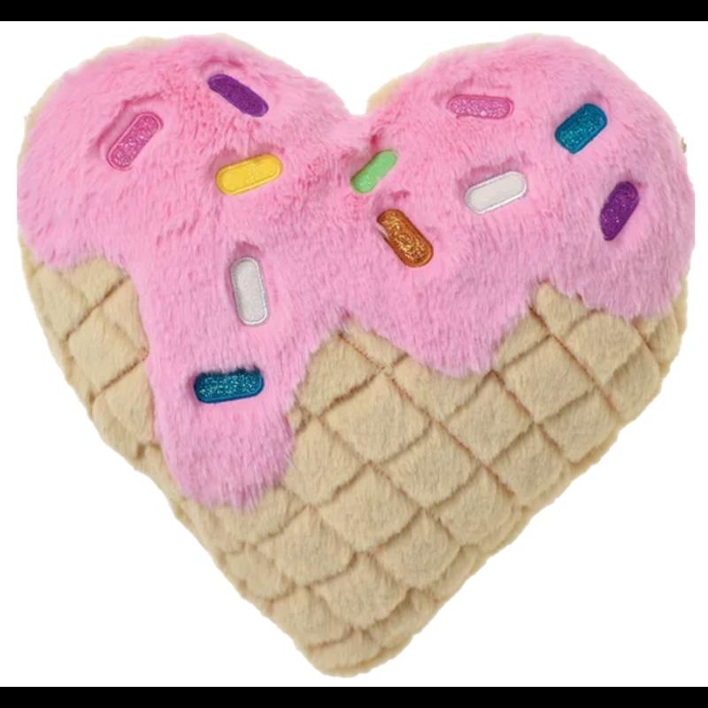 Iscream Iscream Waffle Heart Furry Pillow