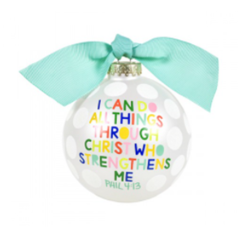 I Can Do All Things Through Christ Glass Ornament