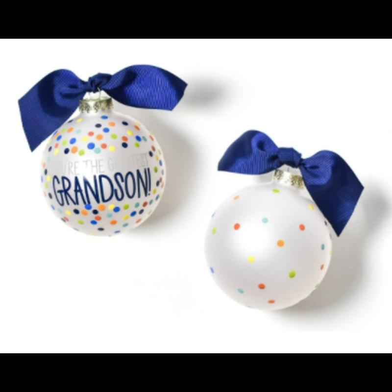 You're the Greatest Grandson Confetti Glass Ornament