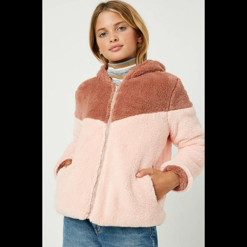 Hayden LA Hayden LA Color Block Fleece Hooded Jacket