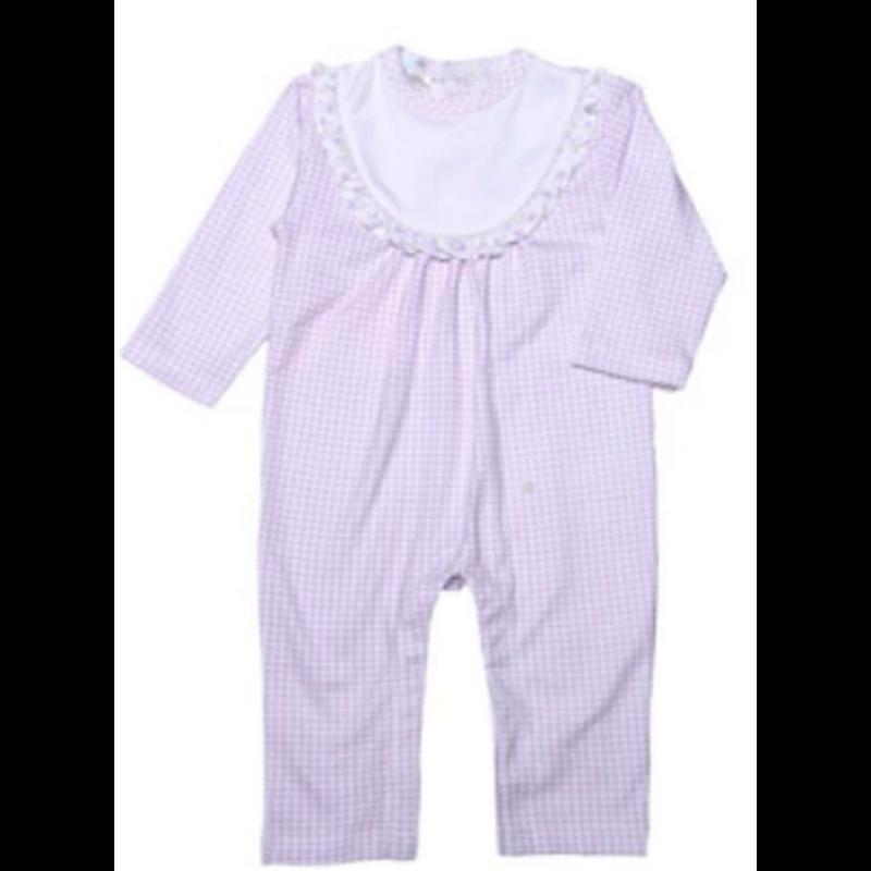 Baby Bliss Kayla Purple Gingham Pima Bib Playsuit