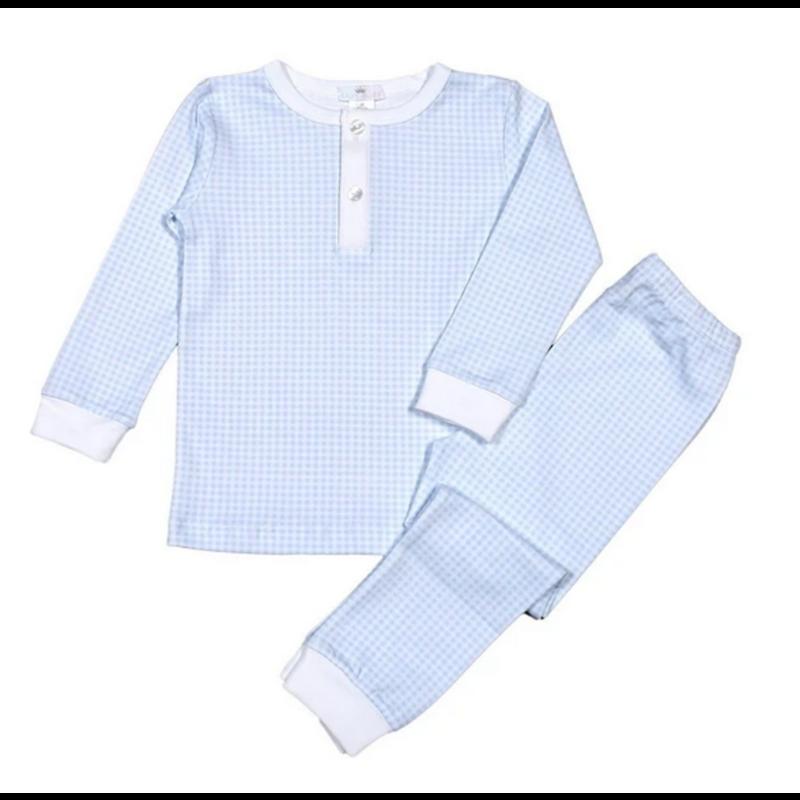 Baby Bliss Blue Gingham Two Piece Pima Loungewear