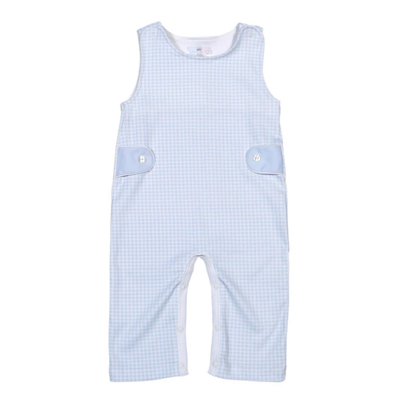 Baby Bliss Peter Blue Gingham Pima Overalls