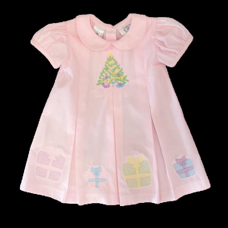 Lulu Bebe Pink Embroidered Christmas Dress