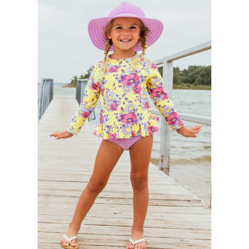 Ruffle Butts Ruffle Butts Daisy Delight LS Rash Guard Bikini