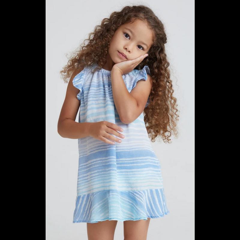Bella Dahl Girl Bella Dahl Girl Ruffle Cap Sleeve Dress Ombre Blue Stripe