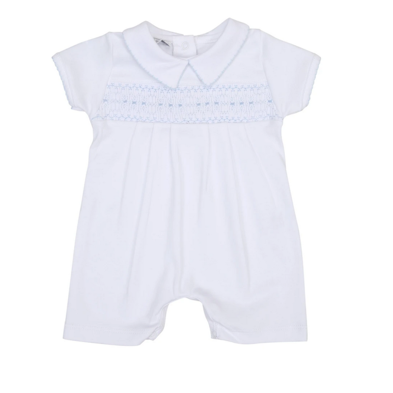 Magnolia Baby Magnolia Baby Becky and Ben's Classics Blue Smocked Collared Boy Short Playsuit