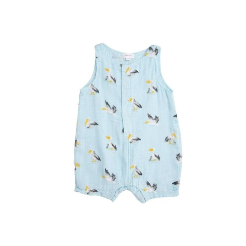 Angel Dear Angel Dear Pelicans Shortie Romper Blue