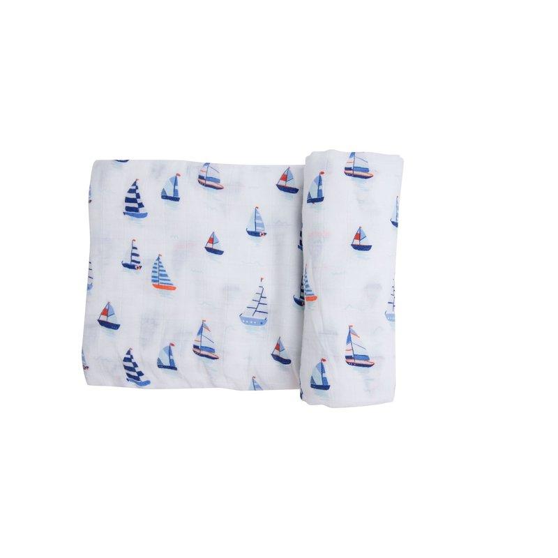 Angel Dear Angel Dear Nautical Boats Blue Swaddle Blanket