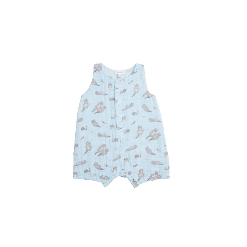 Angel Dear Angel Dear Otters Shortie Romper Blue