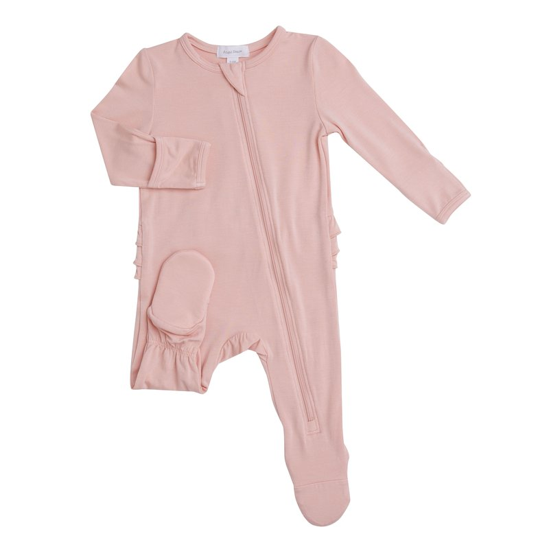 Angel Dear Angel Dear Dust Pale Pink Modern Basics Zipper Footie