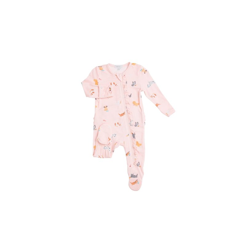 Angel Dear Angel Dear Puppy Play Pink Ruffle Front Zipper Footie
