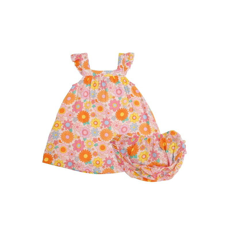 Angel Dear Angel Dear Retro Daisy Sundress/Diaper Cover