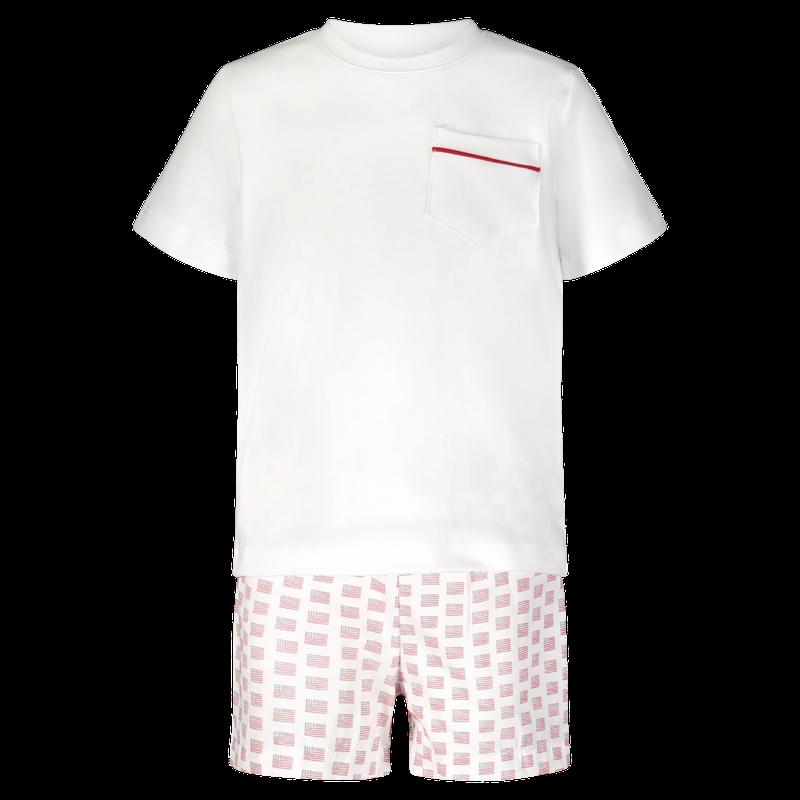 Lila + Hayes Lila + Hayes Hudson- White Pocket T-shirt & Americana Shorts Set